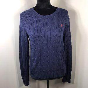 Ralph Lauren Sweaters - Ralph Lauren Cable Knit Navy Blue  Sweater Size M
